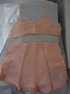 1920s peach silk lingerie set