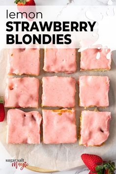 These Strawberry Lemon Blondies are filled with fresh strawberries and a kick of lemon tang. Quick and easy to make, these indulgent strawberry blondies use just everyday ingredients. Like summer in every delicious slice. Bright and tangy with little pockets of jammy baked strawberries, these strawberry lemon blondies are a gooey, indulgent treat and a must-make. Topped with a delicious strawberry icing. #sugarsaltmagic #strawberryblondies #blondies #lemonblondies Easy Cookie Recipes, Tart Recipes, Quick Recipes, Cheesecake Recipes, Cupcake Recipes, Baking Recipes, Dessert Recipes, Lemon Desserts, Delicious Desserts