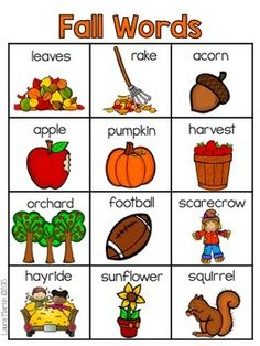 Here in New Jersey we are in the middle of fall. What is your favorite thing about fall? I love the changing colors of. Autumn Activities For Kids, Fall Preschool, Learning Activities, Preschool Activities, Learning English For Kids, English Language Learning, Teaching English, Fall Words, Classroom Language