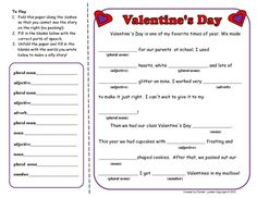 Just in time for Valentine's Day - try this fun Mad Lib type activity! Play alone, in partners or in a group.You could also have students t...