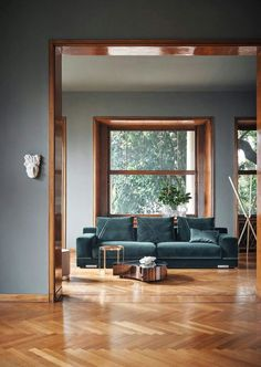 teal velvet sofa with herringbone wood floors. / sfgirlbybay teal velvet sofa with herringbone wood floors. Living Room Wood Floor, Living Room Paint, Living Room Grey, Living Room Interior, Living Room Decor, Living Rooms, Interior Livingroom, Interior Doors, Copper Interior