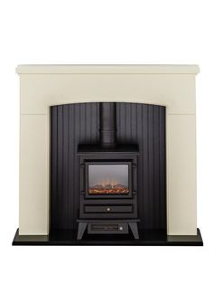Adam Derwent Stove Suite in Cream with Hudson Electric Stove in Black, 48 Inch Electric Fireplace Suites, Electric Fireplaces, Fire Surround, Electric Stove, Cinema Room, Hearth, Sweet Home, Lounge, Home Appliances