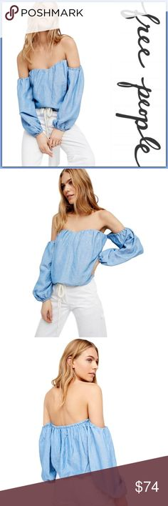 NWT Free People in The Limelight Top ➖NWT ➖BRAND: Free People ➖SIZE: Large ➖STYLE: In The Limelight In Denim Blue Blouse : A beautiful long sleeve off the shoulder featuring a cute cropped top and a sweetheart neckline with with bubble hems for added volume. ➖MATERIAL : 51% Lenin 49% Rayon   ❌ NO TRADE  Entropycat Free People Tops Blouses