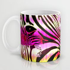 Wild Zebra Mug by Vikki Salmela | Society6 #bright #fun #zebra #pattern #ikat #pink #yellow #abstract #art on #mugs #cups for #drinks #kitchen #home #apartment #gift #collectibles by Polka Dot Studio.