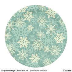 Elegant vintage Christmas snowflakes Paper Plate