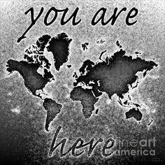 World Map Novo Square with 'You Are Here' text In Black And White by elevencorners. World map wall print decor. #elevencorners #mapnovo