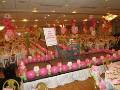 Balloon decor for hospital's Fashion Show fundraiser.  Theme was Spring Time and the room was transformed into a virtual garden.