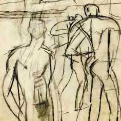 Keith Vaughan - Assembly of figures-pencil