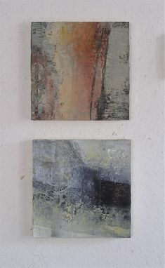 Paintings by Marie Therese Wekx Netherlands Cold Wax, Oil paint Mixed Media, on panel. both 20 x20 cm. 2018