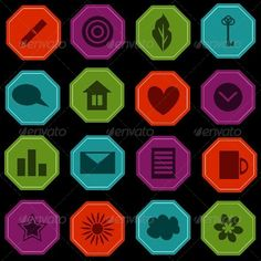 Icons Set ...  blue, button, collection, contact, design, element, graph, green, home, icon, info, key, leaf, mail, octagon, pen, polygon, red, set, web, write