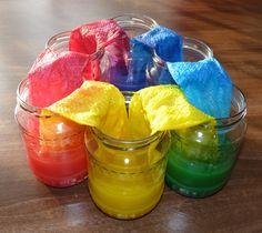 Miešanie farieb - pokus pre deti Color Activities, Activities For Kids, Textiles, Watermelon, Diy And Crafts, Colours, Fruit, Montessori, Experiment