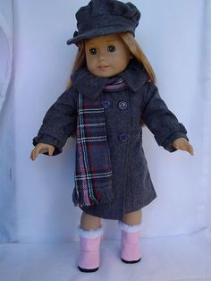 Gray Wool Flannel Coat-Plaid Scarf-Cap-Ugg Boots Doll Clothes fit American Girl | eBay