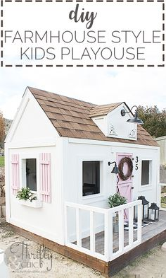 DIY Farmhouse Style Outdoor Kids Playhouse (My Biggest Project Ever!) DIY Farmhouse Style Outdoor Kids Playhouse (My Biggest Project Ever!),Best of Thrifty and Chic DIY playhouse tutorial. How to build an. Childrens Playhouse, Backyard Playhouse, Build A Playhouse, Playhouse Ideas, Playhouse Interior, Outdoor Playhouse For Kids, Playhouse Decor, Outdoor Playset, Playhouses For Girls