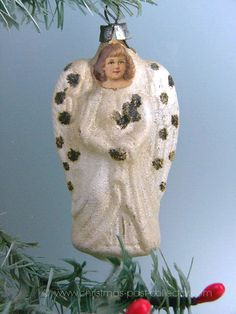 Antique Glass Angel Christmas Ornament