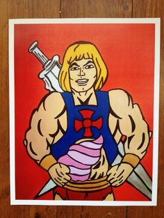80's Masters of the Universe.....He-man - pop art print poster