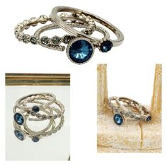 """""""Fashion blue crystal assemble silver ring"""" by oceanfashion on Polyvore"""
