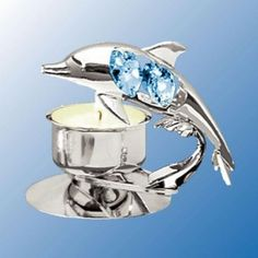 Chrome Plated Dolphin Tea Light Candle Holder - Blue - Swarovski Crystal