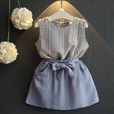Girls Dress Princess Dress for Kids Clothes Striped Sleeveless+Bow Dress for Girls Clothes Baby Girl Party Dresses, Girls Formal Dresses, Dresses Kids Girl, Baby Dress, Baby Outfits Newborn, Toddler Outfits, Kids Outfits, Toddler Fashion, Kids Fashion