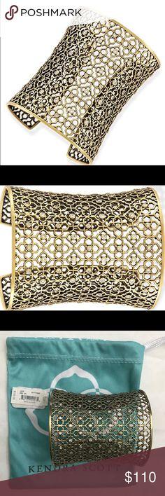 "Jude Cuff in Antique Brass & Cubic Zirconia Pave *** NO TRADE *** NO LOWBALLS. Please respect😀.                                                               • Size: 2.25"" adjustable diameter, 3.02""W • Open, adjustable • Material: cubic zirconia Kendra Scott Jewelry Bracelets"