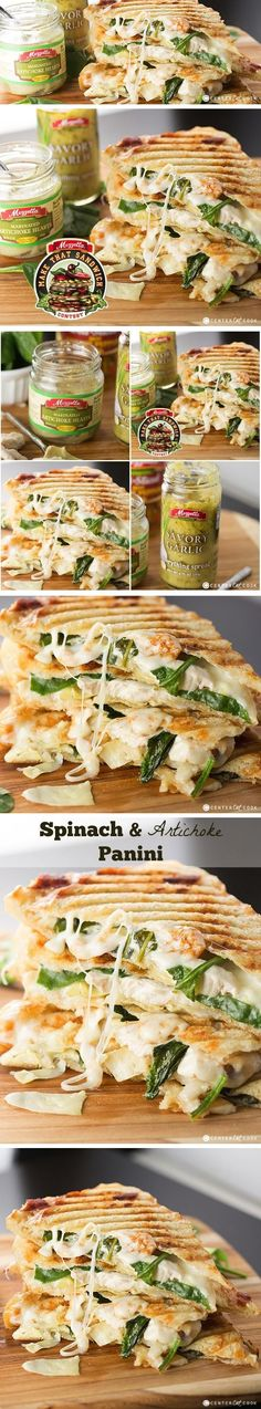 If you like ARTICHOKE SPINACH Dip, you are going to love this Spinach & Artichoke PANINI with grilled chicken, marinated artichoke hearts, baby spinach, garlic spread, and melty mozzarella cheese, grilled to perfection!
