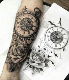 tattoos for men, hour tattoo, rose tattoo, wrist tattoo, wrist rose tattoo