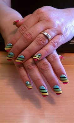 Bold and Bright Stripes by kynaildiva - Nail Art Gallery nailartgallery.nailsmag.com by Nails Magazine www.nailsmag.com #nailart