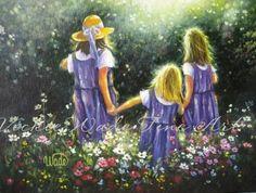 Three Sisters Print, Forever Friends, three sisters paintings, prints, flower garden, three girlfriends, flowers, Vickie Wade art. $26.00, via Etsy.