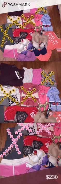 FREE GIFTS 25 Piece Victoria's Secret bundle lot Includes all pictured! Make sure to check out last few pics from free gift additions to this! Top left mock turtleneck sweater size medium like new  Two v necks size large like new Red shorts medium, pink shorts are only ones that have mark on them, medium  Sleep PINK shirt size large, good condition  Left row of bras are all push up NWT/NIP  purple bustier no padding, right row are fabulous push Victoria's Secret bras, worn and pilling Free…