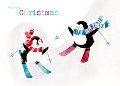 Skiing Penguins Christmas Card