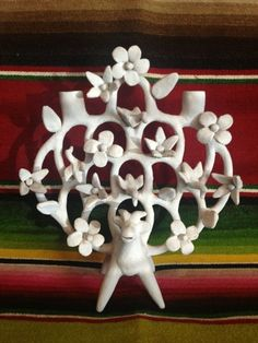 Vintage Heron Martinez Mexican Tree of Life Candle Holder Folk Art from Mexico | eBay