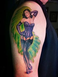 Dita von Teese Pin Up Tattoo - David Corden   http://pinupgirlstattoos.com/dita-von-teese-pin-up-tattoo-2/
