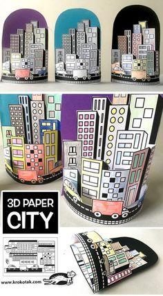 PAPER CITY (krokotak) - PAPER CITY (krokotak) - - This simple paper bag craft makes sweet paper houses that will lead to hours of creative play! Middle School Art, Art School, 3d Paper, Paper Crafts, Kids Crafts, Arte Elemental, Classe D'art, Ecole Art, Art Lessons Elementary