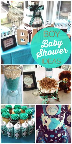 A turquoise and brown boy baby shower with wood letters, candy filled baby bottles and a fondant decorated cake! See more party ideas at CatchMyParty.com!