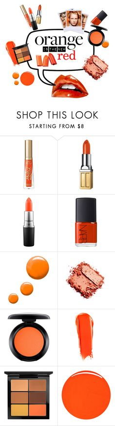 """""""Orange is the new red"""" by apple-named-doris ❤ liked on Polyvore featuring beauty, Too Faced Cosmetics, Elizabeth Arden, MAC Cosmetics, NARS Cosmetics, Topshop, Polaroid, L'Oréal Paris, Olsen and RGB Cosmetics"""