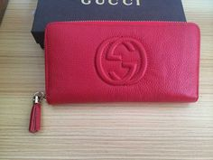 Love this Gucci Calfskin Leather Wallet. Red attracts me!!!