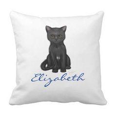 Sweet Black Cat w/Golden Eyes - Blue Custom Name Throw Pillow  A sweet black kitten with bright golden eyes. An original digital painting by Rebekah Sather.