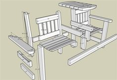 Garden Bench with Table #1: Sketchup plans - by Greg Wurst @ LumberJocks.com ~ woodworking community