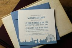 London themed Letterpress Wedding Invitations X 50 with Envelopes £230.00