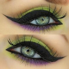 How To Witch Eye Makeup - Makeup Vidalondon. Green and purple eyeshadow with black winged eyeliner. Style inspiration. Please choose cruelty free vegan products, brands and parent companies that don't test on animals or use animal derived ingredients or ingredients sourced from organizations that test on animals or do cruel experiments