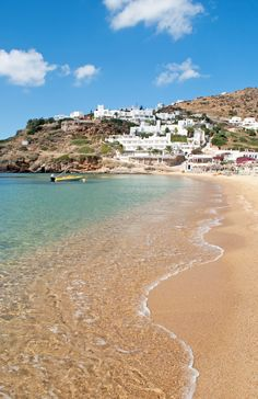 Golden sands and clear blue seas at Mylopotas beach on the Greek island of Ios – deserted off season