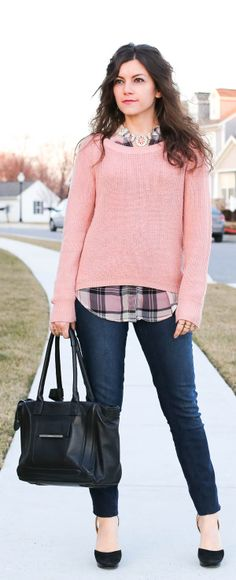 FashionEdible - Casually Pink: pink sweater, over a plaid top and pink statement necklace