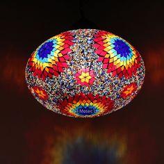 Handmade Turkish Moroccan Style Mosaic Hanging Lamp Ceiling Light XXXL Globe