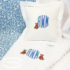 Teddy Bear blanket and pillow for a baby gift that's sure to become an heirloom. NellyBelle Designs