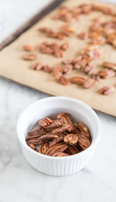 Whip up a batch of Roasted Cinnamon Pecans in less than 30 minutes (yes, they do taste lovely also)!