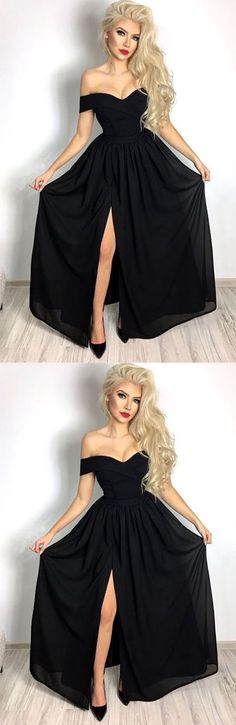 Hot Sexy A-line Off the Shoulder Black Chiffon Long Prom/Evening Dress  #prom #promdress #promdresses #eveningdress #eveningdresses