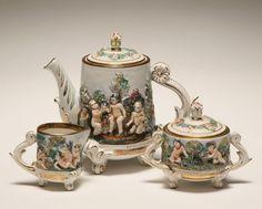 Capo di Monte three piece tea set