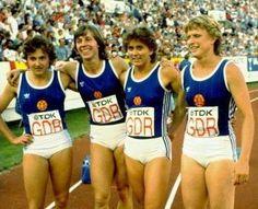 Silke Gladisch, Marita Koch, Marlies Göhr and Ingrid Auerswald, 100m gold medallists in the relay at the first World Championships, Helsinki 1983.