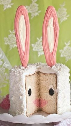"Bunny Cake by Amanda Rettke from ""I am Baker"" in her book ""Surprise-Inside Cakes"" Easter Bunny Cake, Hoppy Easter, Easter Treats, Easter Food, Easter Lunch, Bunny Birthday, Happy Birthday, Birthday Cake, Gorgeous Cakes"
