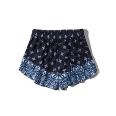 Abercrombie & Fitch Vintage Pattern Drapey Shorts ($18) ❤ liked on Polyvore featuring shorts, bottoms, pants, short, navy pattern, highwaisted shorts, short shorts, vintage shorts, high waisted print shorts and navy shorts
