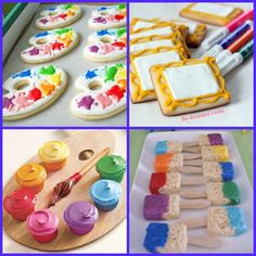rice crispie squares on stick dipped in different colored frosting